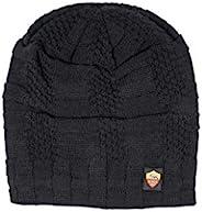 AS Roma 中性成人针织帽,内侧为人造毛皮,黑色,均码