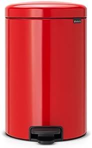 Brabantia 脚踏式垃圾桶 带塑料内桶,钢制,20升,热情红