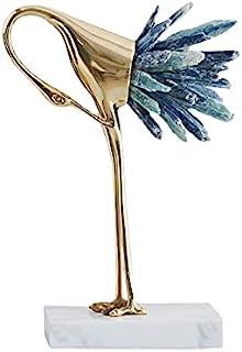 现代奢华金色水晶铜鹤矿石动物鸟雕像家居装饰配件客厅软电视橱柜酒柜装饰(蓝色 C)