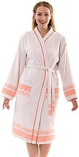 Bonamaison 带滚边浴袍,棉,米色,橙色,S 码
