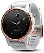 Garmin fēnix5s 智能手表,帶高級堅固耐用的小型Multisport GPS,藍寶石玻璃,玫瑰金/白色