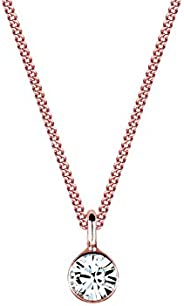 Elli Women's Chain with Pendant Swarovski Crystal Necklace Silver Gold Plated Diamond Cut White 0110190914
