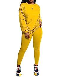 女式两件套运动服套装 - 宽松长袖上衣紧身长裤连身衣套装 黄色 XX-Large