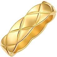 18K 镀金 Coco Crush 戒指 女式 男式 宽环 堆叠戒指 男士 厚 结婚戒指 情侣礼物