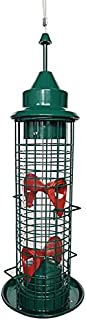 Squirrel Proof 鸟类喂食器,金属和外部悬挂鸟类喂食器,防水鸟类喂食器和排水孔鸟类喂食器,适用于花园庭院装饰
