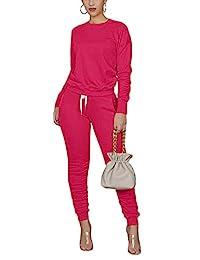 两件式女式纯色褶皱运动服运动服运动服套装