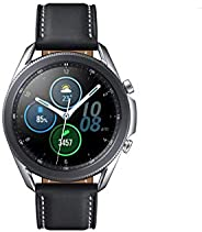 Samsung Galaxy Watch3,圆形蓝牙智能手表,适用于Android,可旋转表圈,健身手表,健身追踪器,大显示屏,45毫米,银色,