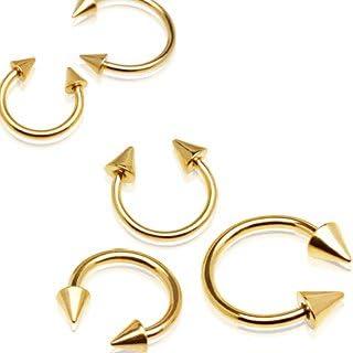 Dynamique 镀金 316L *钢圆形杠铃带两个尖头(每件出售)