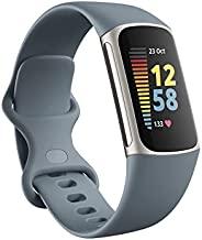 Fitbit Charge 5 高级健身和*追踪器,带内置 GPS、压力管理工具、*跟踪、24/7 心率等,铂金/矿物蓝色,均码(含长带)