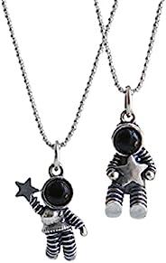 2 件星宇航员 Pandant 项链 太空人 星星项链 男女适用 可调节 星空 机器人项链 友谊珠宝礼物