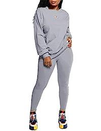 女式两件套运动服套装 - 宽松长袖上衣紧身长裤连身衣套装 灰色 Small