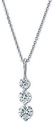 圆形钻石 3 石吊坠项链,渐变雪人,14K 金,可调节链子(G-H 颜色,SI2-I1 净度)