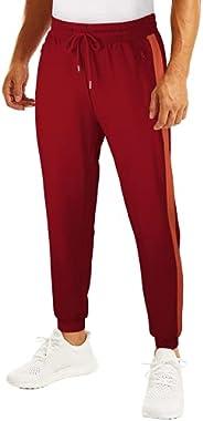 WIHOLL 男式慢跑裤休闲运动运动裤 带拉链口袋,适合健身、跑步、训练