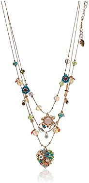"""Betsey Johnson """"Weave and Sew"""" Woven Mixed Multi-Colored Bead Flower Heart Illusio"""