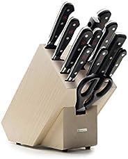 Wüsthof 三叉牌 9件套,经典(1090171201),木制块(榉木)带9把厨师刀,肉叉,磨刀钢,剪刀,*厨刀套装