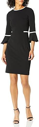 Calvin Klein 女式喇叭袖连衣裙,对比色配衬
