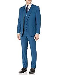 Caravelli Adam Baker 男式 600584 修身纹理上衣 3 件套西服 - 铁蓝色 - 40S