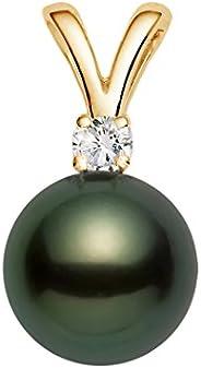 14K 黄金 AAAA 级黑色塔希提岛养殖珍珠吊坠带钻石