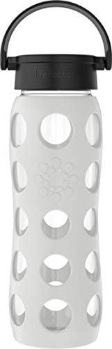 Lifefactory 经典瓶盖玻璃水瓶,带保护硅胶套,无BPA,22盎司/约650.54 毫升,冷灰色