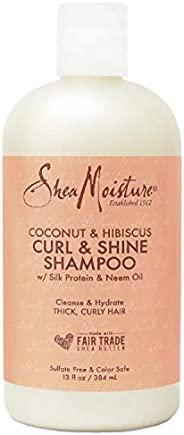 SheaMoisture 卷发闪亮洗发露,可滋润秀发,不含椰子和芙蓉硫酸盐,不含硅酮,13盎司(约368.54克),384毫升