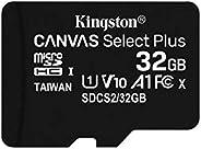 Kingston 32GB microSDHC Canvas Select Plus 100MB/s 读取 A1 Class10 UHS-I 3 件装存储卡 + 适配器 (SDCS2/32GB-3P1A)
