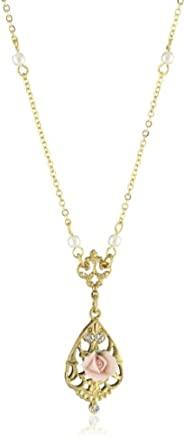 1928 珠宝 14k 镀金复古灵感陶瓷玫瑰水晶装饰项链,17 英寸(约 43.2 厘米)