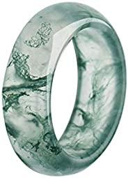 N\A 自然绿玛瑙 带图案戒指 简约 玉石浮动花朵戒指 中国天然玉环 风水好运能量戒指 首饰 适合女士 女孩 男士 情侣