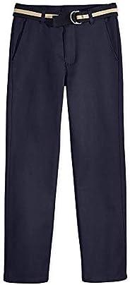 Nautica 男童无褶腰带斜纹制服裤
