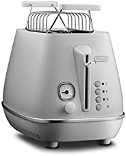 De'Longhi 德龍 烤面包機 Distinta Moments CTIN2103.W – 2槽烤面包機,帶面包配件,啞光金屬表面,不銹鋼,鍍鉻細節,適用于 Nespresso Gran Lattissima