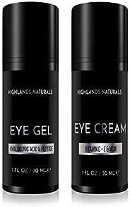 Highlands Naturals 优质男士眼部护理套装   减少黑眼圈、浮肿、眼下袋、皱纹和细纹  日常防御和高级皮肤护理  天然*  2 盎司(约 56.7 克)