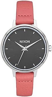 NIXON 中号 Kensington 皮革 A1261 - 银色/黑色/红色 - 50 米防水女式模拟经典手表(32 毫米表盘,12 毫米皮革表带)