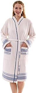 Bonamaison 带滚边浴袍,棉,米色,蓝色,XL 码