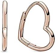潘多拉不对称心形环形 潘多拉玫瑰耳环 - 288307
