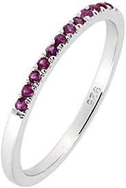纯银正天然红宝石或蓝宝石半永恒戒指