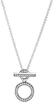 Pandora 潘多拉双圈项链 带T型锁扣