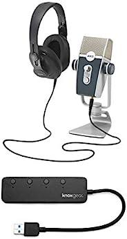 AKG Lyra USB 麦克风和AKG K371 耳机,带 Knox 3.0 4 端口 USB 集线器套装(2 件)