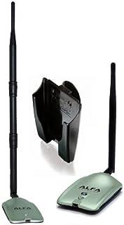 2000mW 2W 802.11 G/N 高增益 USB 无线长频 WiFi 网络适配器带原装 Alfa 螺旋旋转 9dBi 橡胶天线和吸盘车窗安装底座