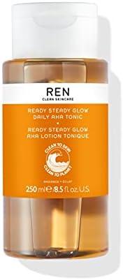 REN Clean Skincare Glow Tononic - 无刺激性,纯植物毛孔减少爽肤水,含再生 AHA 和 BHA - 适用于日常面部提亮、去角质、保湿均匀肤色