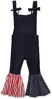 幼童女童喇叭裤连身衣 7 月 4 日七月工装裤套装喇叭裤爱国服装