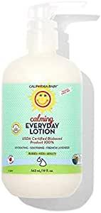 California Baby Calming 日常乳液(19 盎司)| * 植物基(不含水)| 保湿霜,适合干燥、敏感肌肤 | 沐浴后和换尿布乳液