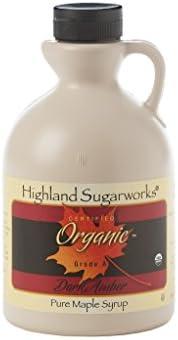 Highland Sugarworks Jug Maple Syrup Pure Grade A Organic Dark with Robust Taste 32oz.
