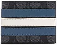 Coach 蔻驰男式修身皮夹钱包,签名帆布,带学院条纹
