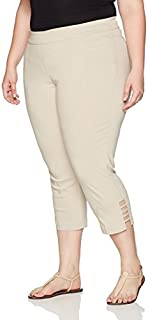 SLIM-SATION 女士加大码拉身纯色露脐裤,正面和背面口袋,