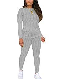 女式 2 件套慢跑套装女式性感紧身运动服长袖圆领纯色运动衫和裤子套装
