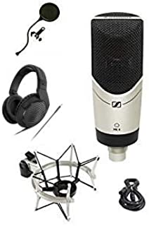 Sennheiser MK-4 STUDIO 限量版 MK4 麦克风捆绑包带耳机、减震器、XLR 电缆和流行过滤器波塞