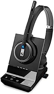 Sennheiser 森海塞尔 SDW 5066 (507024) - 双面(双头)无线装饰耳机,适用于台式电话/电脑和手机连接双麦克风超噪音消除,黑色