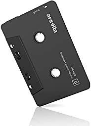 Arsvita 汽车音频蓝牙无线磁带接收器,磁带播放器蓝牙 5.0 磁带辅助适配器,黑色