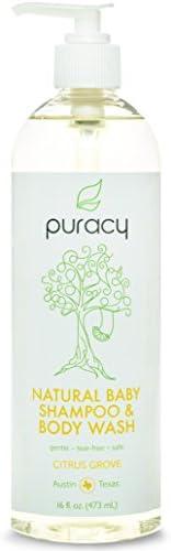 Puracy 天然婴儿洗发水和沐浴露 - 无硫酸盐 - *佳泡沫沐浴 - 由*为各年龄段的儿童开发 - 温和无泪 - 低*性 - 16 盎司瓶(12 瓶装)