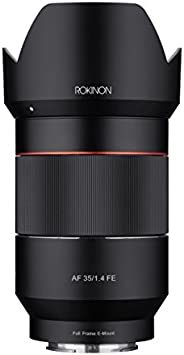 Rokinon AF 35mm f/1.4 自动焦距广角全镜头适用于 Sony FE 安装,黑色 (IO3514-E)