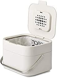 Joseph Joseph 30015 智能垃圾降解箱垃圾桶,带有气味过滤和通风,1加仑/ 4升,石色